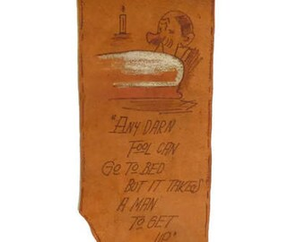 Vintage Souvenir Leather Wall Hanging | Funny Saying On Piece Of Leather