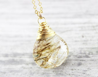 Brown Gemstone Necklace, Gold Pendant Necklace, Wire Wrap Necklace, Simple Modern Necklace, Light Brown Necklace, Rutilated Quartz Necklace