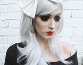 White PVC Hair Bow Vintage 50's Style Hair Clip