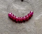 AA Dark Hot Pink Sapphire Faceted Rondelles - 3mm - 10 beads