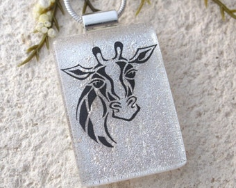Giraffe Necklace, Dichroic Fused Glass Jewelry, Dichroic Jewelry, Silver Necklace, Safari Jewelry, Glass Necklace, Glass Jewelry, 102816p101