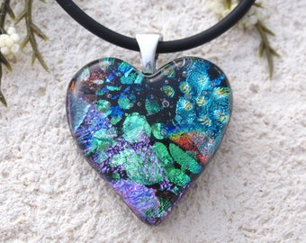 Petite Blue Green Heart, Dichroic Jewelry, Silver Necklace, Heart Pendant, Heart Jewelry, Fused Glass,J ewelry, Jewelry,Valentine, 122816p2