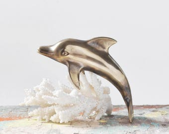 "Vintage Brass Dolphin Figurine - 5.25"" smooth metal porpoise paperweight - nautical beach home decor"