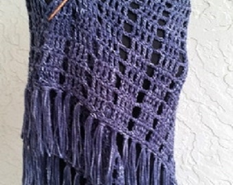 hand crochet Shawl Capelet shoulder wrap womens accessories chic lacy denim ~ stylish wrap ~ denim