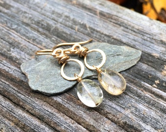 Rutilated Quartz Gemstone, 14k Gold Fill, Dangle Earrings, Natural Stone, Wire Wrap Handmade Jewelry, Kerri Hale Vermont, Gold Fall Autumn