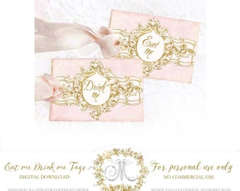 Eat me, Drink me Alice in Wonderland gift tag printables, digital download in pink and gold, Personal use only