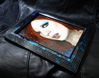 "5x7"" Shirley Manson original oil painting, Garbage, framed"