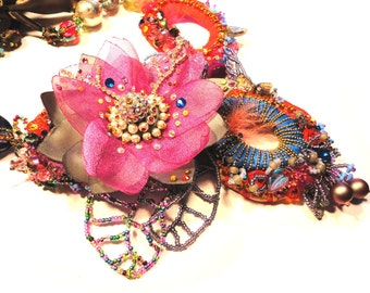 Floral Chic Collection, One of a kind Couture Rhinestone Necklace by Monikque