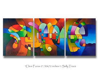 Canvas giclee prints from my original abstract triptych geometric painting, Clear Focus 2, 30x72 inches