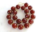 1200 Carat Faceted Blood Orange Carnelian Necklace...