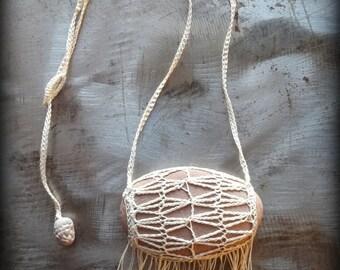 Artist Necklace, Crocheted Lace, Smooth Stone, Fringe, Ecru Thread, Handmade, Long, Nature, Tribal, Bohemian, Monicaj