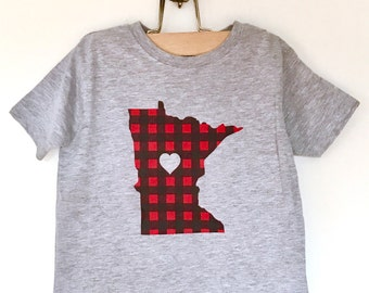 Minnesota Flannel Toddler T-Shirt - Screen Printed Minnesota Red Buffalo Check Toddler Tee for Boy or Girl by Oh Geez! Design