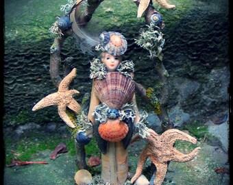 mermaid in disguise shell assemblage, beach, ocean, faery mermaid