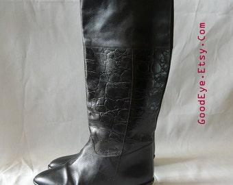 Vintage Leather Riding Boots size 6 M / Eu 36 UK 3 .5 / Black Mock Croc Knee Equestrian Flat Heel Boot /Nine West made in Brazil
