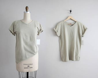 waffle cotton tee | cotton gauze top | 90s neutral t shirt