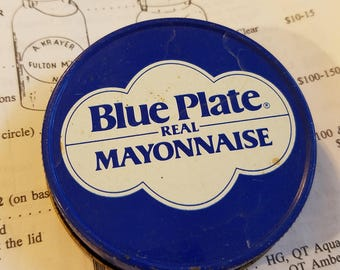 vintage advertising blue plate real mayonnaise jar lid metal tin regular mouth mason grocery packer white screw cap grocers store condiment