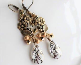 Antique Gold Flower Earrings, Vintage Style Flower Romantic Pearl Earrings, Swarovski Gold Patina Dangle Earrings, Gold Pearl Earrings
