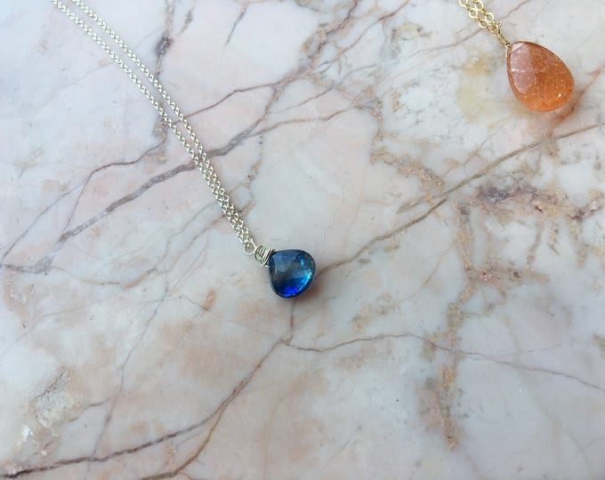 Blue Kyanite and Sterling Silver Littles Necklace