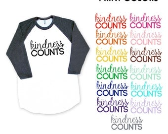 Kindness Counts Heather Black Baseball TShirt - Peace, Love, Be Kind, Happy, Friendship, Birthday, Support, Sweet