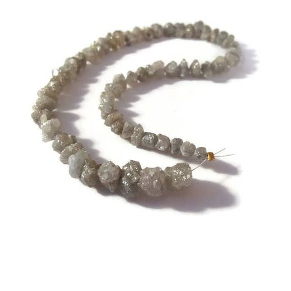 Diamond Nugget Beads, Rough Gray Diamonds, Raw Diamond Nuggets, 4x4mm - 9x7mm, Jewelry Supplies, 9 Inch Strand of 63 Stones (Luxe-Di2a)