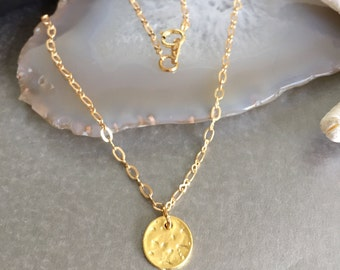 tiny Hammered circle Necklace.Simple Gold Coin charm Pendant -Yoga Simple chain jewelry -Minimalist-Hammered tiny medal earrings