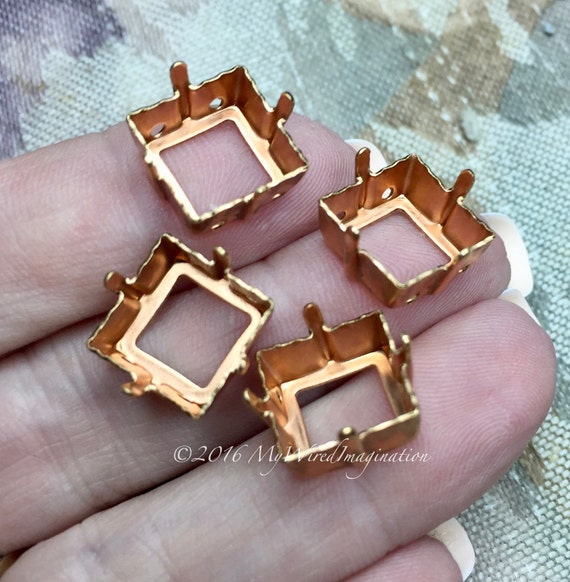 4 pcs Brass Sew On Setting, for 12mm 4400 or 4410 Squares, Empty Setting Rhinestone Setting, Crystal Setting, Stone Setting