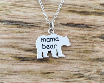 Mama Bear Necklace, gift for her, sterling silver jewelry, mom necklace, for mother, Christmas, birthday day, Mothers day gift, new mom
