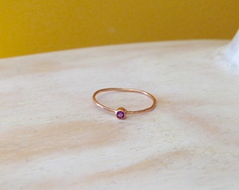 14K Rose Gold Dainty Birthstone Stacking Ring Tiny Birthstone Ring Pinky Ring Push Present Birthday Gift - made to order in your finger size