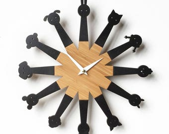 Animals Wall Clock, Modern, Kids Room Decor, Black and wood, Minimal