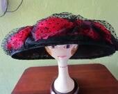 18 Red Silk Roses Wide Brim  Hat Kokin Black Flocked Mesh Sun Shade Derby Church Easter Wedding