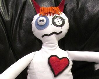 Soft Sculpture, Voodoo, Devil, Horror Doll,  Plushie, Goth Art Doll