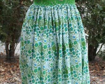 Green V neck hippie maxi cotton India print dress small medium floral festival