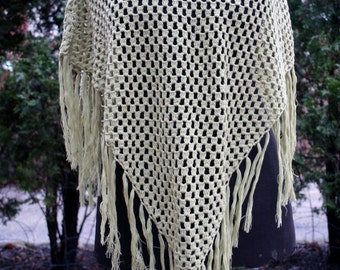 Light green fringy cotton blend poncho lightweight small