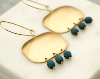 Geometric Brass Earrings, Beaded Chandelier Earrings, Blue Beads