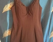 """1960's Rose Marie Reid Swimsuit Pin Up One Piece Skirted Chocolate Brown True Vintage Bust 36"""" Waist 28"""" Hips 36"""""""