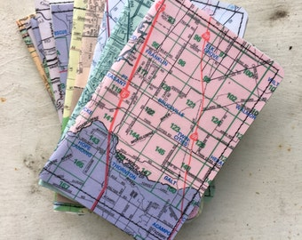 Slim Wallet- Vintage Sacramento Area and Gold Country map- Choose 1