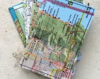 Slim Wallet- Vintage Northern California Map- choose 1