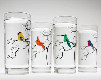 Four Birds Glassware - 4 Everyday Water Glasses, Bird Glasses, Cardinal, Bluebird, Golden Finch, Hummingbird, Gifts for Her, Bird Lover