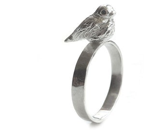 Bird Ring - Sterling Silver - Hammered - Stick A Bird On It - Solid - Small Bird Ring - Song Bird Ring - Silver Bird Ring - Made In Brooklyn