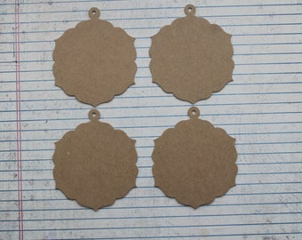 "4 bare chipboard bracket edge round tags with hole for hanging 2 5/8"" x 3 1/8"""