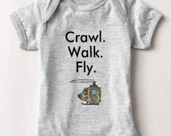 Military Helicopter Pilot Baby Bodysuit Infant Newborn Boy Girl Shower Gift