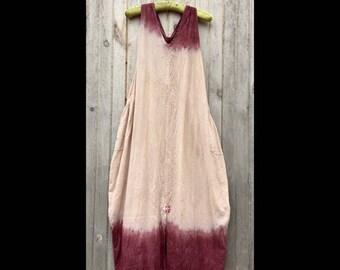 Burgundy Dip: One Size fits S-XL, cotton sundress, maxi-dress, low impact dyes, OOAK, lagenlook, minimalist, big pockets