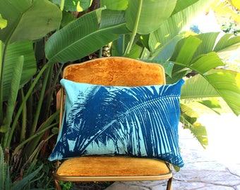 Baja Beach Throw Pillow - Light Blue & Teal Palm - Palm Frond - Bojo Beach Decor - Beach Cottage Decor