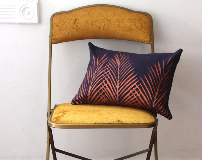 Eggplant and Copper Nipa Palm Leaf Throw Pillow