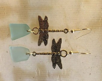 Teal aqua sea glass dangle earrings on dragonfly charms jewelry