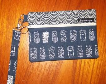 Wrist Strap Zippered Pouch Maneki Neko Japanese Cat Design Navy Blue