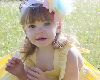 Pink baby headband, yellow baby headband, marabou feather boa, blue baby headband, hair bows for girls, Easter headband, Infant headband bow