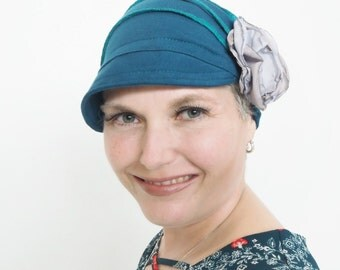 Women Fashion Hat, Teal Cloche Hat, Women Comfortabel Flapper Hat, Stylish Cozy Cap, Handmade Cotton hat for women, Chemo full cover hat