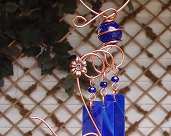 Flower Windchime Glass Wind Chimes Copper Garden Lawn Yard Art Sculpture Stained Glass Ornament Metal Cobalt