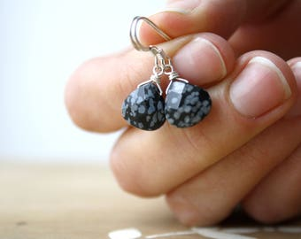 Snowflake Obsidian Earrings . Black Drop Earrings . Obsidian Jewelry . Natural Gemstone Earrings - Aurelia Collection